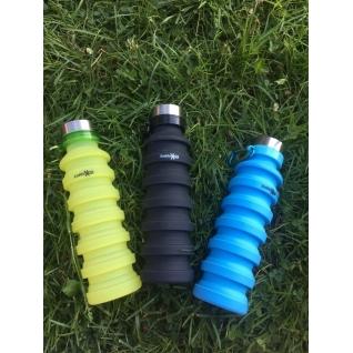 Бутылка для воды силиконовая складная гофра 500 мл салатовая Hobbyxit