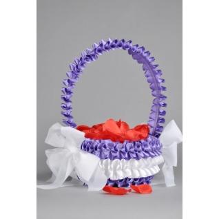 Корзинка для лепестков №11, белый/фиолетовый (круглая, d 18 см)