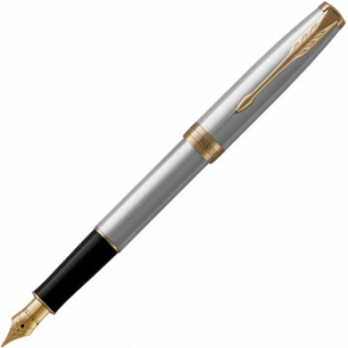 Ручка перьевая PARKER SONNET STAINLESS STEEL GT 2черных картр тонк 1931504