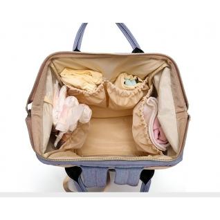 Сумка-рюкзак для мам с креплением и USB голубая no name