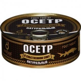 Рыбные консервы Осетр Эко Фуд в собственном соку натуральный ж/б,240гр