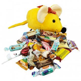 Новогодний сладкий подарок Мышонок Писк игрушка 400 гр 13х13х21,5см 9447Y МосУпак