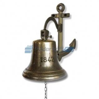 """Сувенирная рында """"1842"""" на кронштейне-якоре, корабельный колокол, d 18 см, цвет антик"""