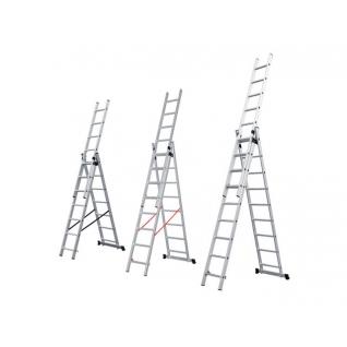 Лестница алюминиевая 3-х секционная 256/592/424см 3*9 ступеней, 12,2кг STARTUL (ST9711-09) STARTUL