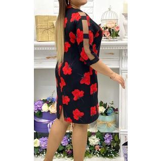 Платье большого размера с цветами р.50-56