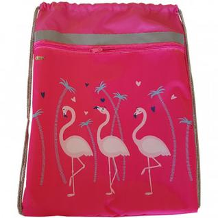 Мешок для обуви №1 School Фламинго 370x470 мм, карман сосветоотражателем