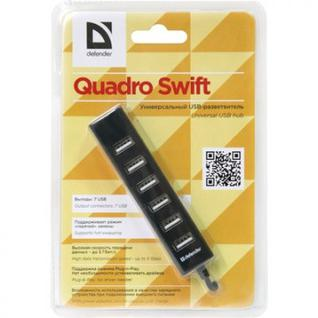 Разветвитель USB Defender (83203) Quadro Swift USB2.0, 7 портов