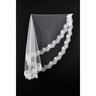 Фата для невесты №390, кружево шантильи, белый /1,5 х 2,0 м/