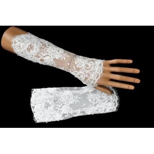 Перчатки свадебные №231, белый (25 см, бисер)