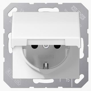 Розетка электрическая Jung AS1520BFKLWW SCHUKO 16А 250V~ с крышкой с заземлением белая термопласт