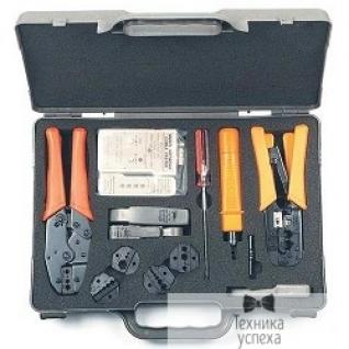 Hyperline Hyperline HT-4015 Набор инструментов для инсталляции сети (инструмент обжимной для RJ-45/12/11, инструмент обжимной для RG-6/8/11/58/59/62/174/179, обрезка, зачистка