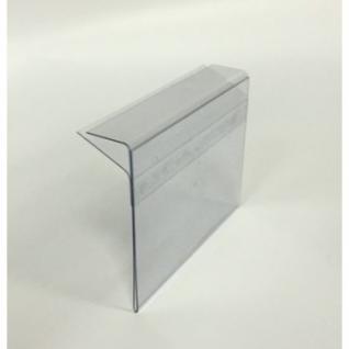Ценникодержатель полочный 60х40мм для стекл. полок толщиной 5-8 мм.,ПЭТ,
