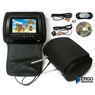 Комплект автомобильных DVD подголовников ERGO ER700HD (черный) Ergo