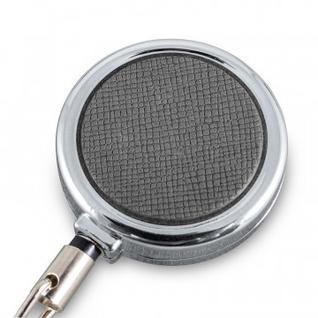 Бейдж вертикальный с держателем рулеткой, серый