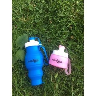 Бутылка для воды силиконовая складная 450 мл розовая Hobbyxit
