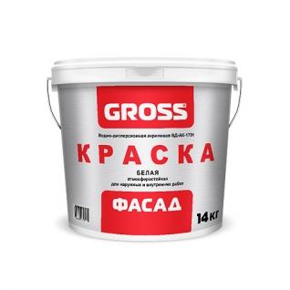 Краска Gross фасад ВД-АК-1701 белая, 1.4 кг
