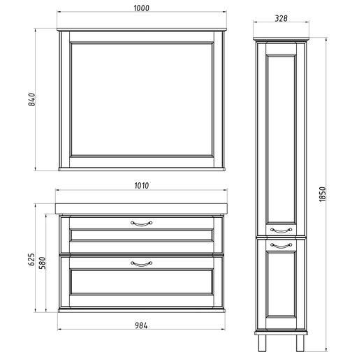 Подстолье Прато 100 (Белый/Патина серебро) ASB-Woodline 38117065 3