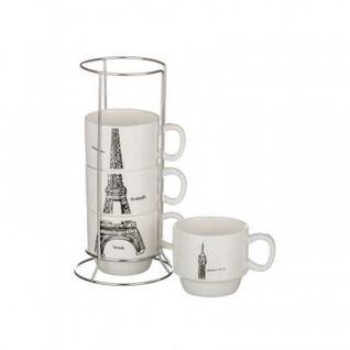 Набор чашек Париж 4 шт 150 мл на мет.подставке арт.495-1009