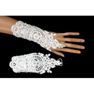 Перчатки свадебные №238, белый (19 см, бисер)
