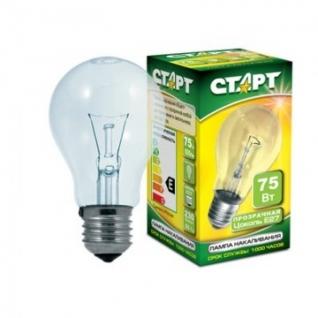 Электрическая лампа СТАРТ стандартная/прозрачная 75W E27