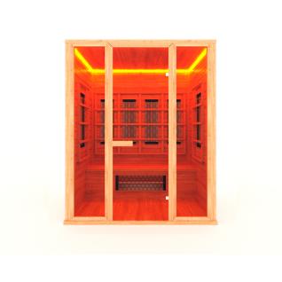 Инфракрасная сауна 3 - местная со стеклянной дверью и двумя стеклянными вставками