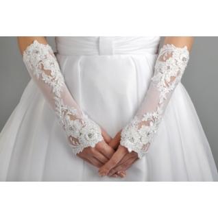 Перчатки свадебные №210, белый (средней длины)