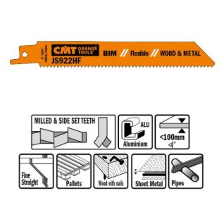 Пилки сабельные СМТ 5 штук для дерева и металла(BIM) 150x2,5x10TPI JS922HF-5