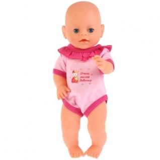 Одежда для кукол 40-42 см, розовый боди 'милая девочка', в пакете, Карапуз в кор.200шт