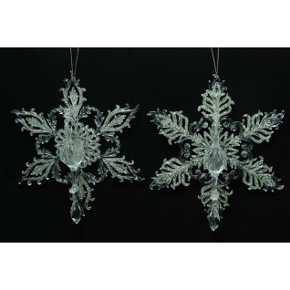 Украшение Снежинка перо павлина, цвет шампань с серебряным блеском, ассортимент