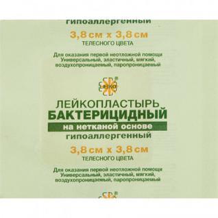 Перевяз. ср-ва Лейкопластырь бакт. 3,8х3,8см н/тканный Leiko 100шт/уп