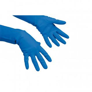 Перчатки резиновые Vileda Profes латекс хлопков.напыл синий р-р S 100752