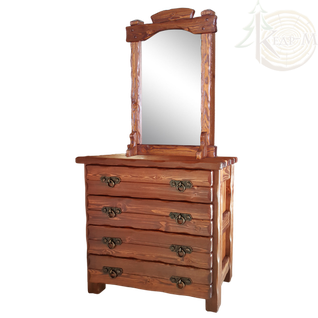 Комод Барин 2 (4 ящика) с элементами ковки и зеркалом