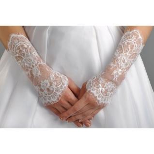 Перчатки свадебные №115, белый (20 см, пайетки)