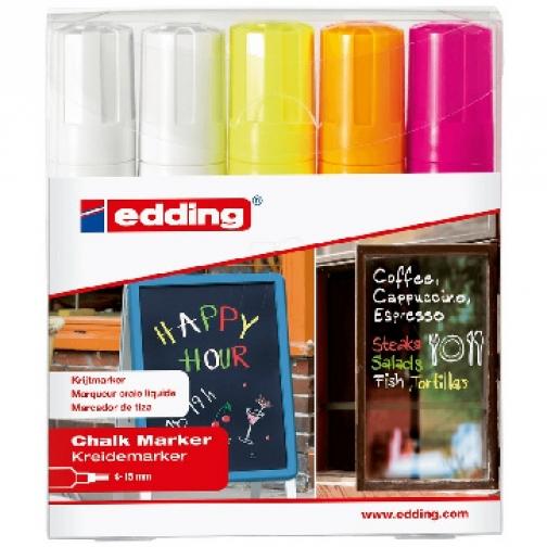 Набор маркеров меловых Edding E-4090/5S 4 цв 4-15 мм 37857390