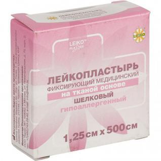 Перевяз. ср-ва Лейкопластырь 1,25х500см шелк в картоне 12 шт/уп