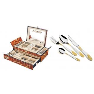 Столовый набор 72 предмета Frank Haus, Виноград, коричневый мрамор