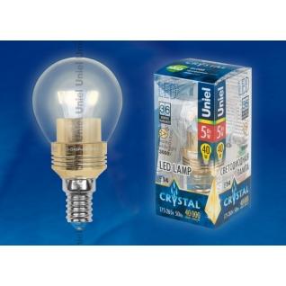 Uniel LED-G45P-5W/WW/E14/CL ALC02GD пластик
