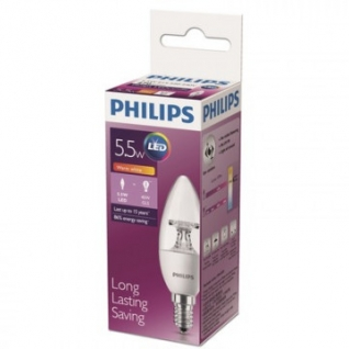 Лампа светодиодная Philips 5.5W E14 2700k тепл.бел. свеча