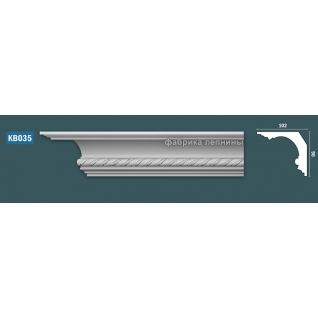 КВ035 Карниз гипсовый с орнаментом - 90х102мм