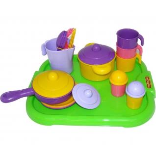 """Набор детской посуды """"Настенька"""" с подносом на 3 персоны Полесье"""