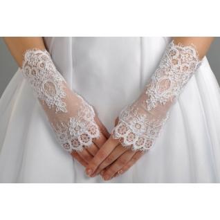 Перчатки свадебные №116, белый (короткие)