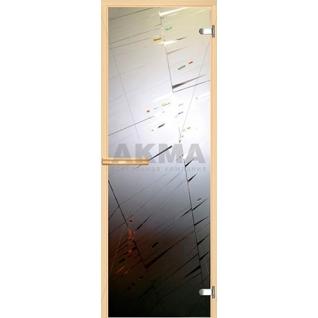 Дверь для бани АКМА АРТ с Фьюзингом ЛУЧИ 7х19 (коробка осина или липа)