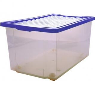Ящик дляхранения Optima 57л на роликах, синий, с крышкой