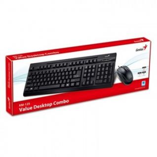 Набор клавиатура+мышь GENIUS KM-125, стандартная, чёрная, проводная