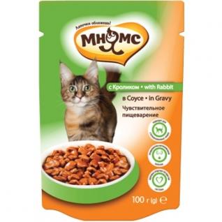 Мнямс Мнямс паучи для взрослых кошек с кроликом 100 г в соусе, чувствительное пищеварение