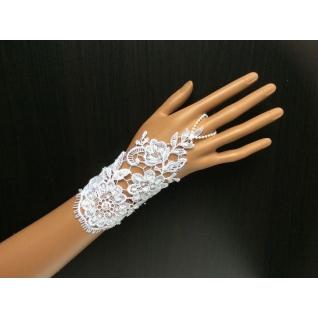 Перчатки свадебные №160, белый (15 см, бисер)