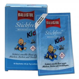 Ballistol Салфетки для защиты детей от укусов насекомых Stichfrei, 10 шт.