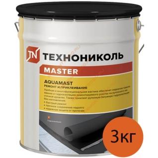 АКВАМАСТ мастика для ремонта и приклеивания (3кг) / AQUAMAST мастика битумная для ремонта и приклеивания (3кг) Технониколь