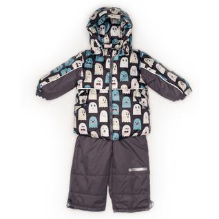 Комплект MalekBaby (Куртка + Полукомбинезон), Без опушки, №257/1 (Привидения+серый) арт.409ШМ