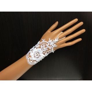 Перчатки свадебные №158, белый (13 см, бисер)